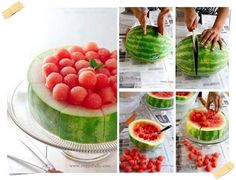 Watermelon bowl using a hollowed out half of a watermelon as the bowl Watermelon Dessert, Watermelon Ideas, Fruit Sorbet, Eating Watermelon, Pink Fruit, Sweet Watermelon, Comida Diy, Do It Yourself Food, Ideas Party