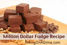 This is our favorite fudge recipe.This is so easy and soooo yummy! We have to usually make 4 batches to get us through Christmas!  To save on the cost of the Hershey's bars we usually buy them on clearance after Halloween. Click here to get the yummy homemade fudge #recipe http://www.livingonadime.com/grandmas-million-dollar-fudge/