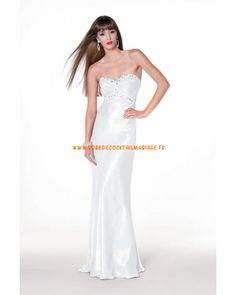Sans bretelle robe col en cœur avec cristaux robe de soirée mousseline
