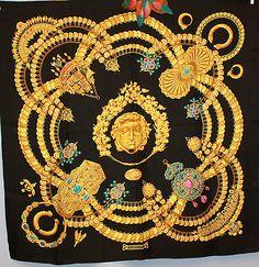 "Hermes 90 ""Kosmima"" Foulard Scarf Silk Carre Seide Silk Soie Julia Abadie | eBay"