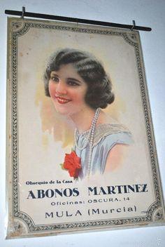 CARTEL CALENDARIO PARED ABONOS MARTINEZ. MULA MURCIA 1931 FALDILLA INCOMPLETA IMP DOMINGO BARCELONA - Foto 1