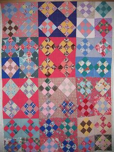 Vintage 9-Patch on point Cotton Quilt
