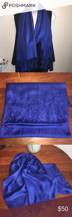 "Royal Blue Cashmere Scarf NWOT. I used to live in the Middle East and I have way too many scarves. This is Cashmere. No label or brand but when you get it, you will know. Priced accordingly. Measurements are 80""x26."" Not a blanket scarf, but can be used as a shawl as well. Never used. Perfect condition. Bundle or...I ❤️ offers! Accessories Scarves & Wraps"