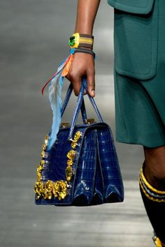 Prada SS14 blue leather mock croc bag with gold embellishment