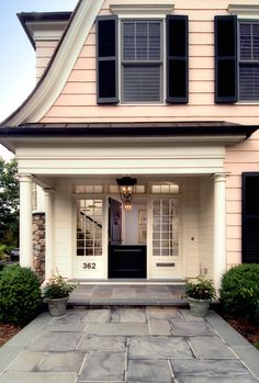 Exterior Paint Colors - You want a fresh new look for exterior of your home? Get inspired for your next exterior painting project with our color gallery. All About Best Home Exterior Paint Color Ideas Exterior Front Doors, House Paint Exterior, Exterior Paint Colors, Exterior House Colors, Exterior Design, Exterior Shutters, Front Entry, Black Shutters, Black Doors
