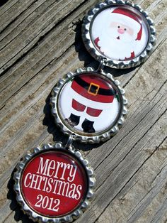 Santa Bottle Cap Ornament Handmade Personalized Christmas Ornament
