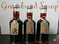 Gingerbread Syrup for Coffee : Homemade Christmas Gifts I added crystallised ginger to my recipe. It added more flavour and looks great in the bottle.