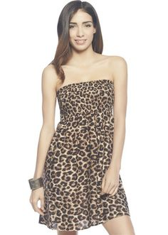 Yellow Strapless Leopard Print Casual Dress