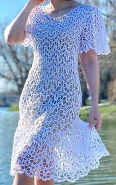 Love Crochet, Knit Crochet, Knit Dress, Dress Skirt, Crochet Clothes, Crochet Patterns, Short Sleeve Dresses, Gowns, Knitting