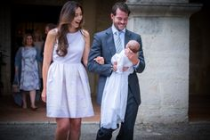 Princess Claire and Prince Félix of Luxembourg christen their daughter Princess Amalia Gabriela Maria Teresa, Princess of Nassau in the Saint-Ferréol Chapel in Lorgues, France on July 12th, 2014