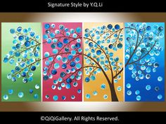 "48"" large Abstract Landscape tree of life Impasto Painting  Wall Décor ""Four Season Tree"" by qiqigallery"