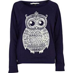 I think I'm developing an Owl fetish. navy owl print top - long sleeve tops - t shirts / vests / sweats - women - River Island Owl Shirt, T Shirt Vest, Sweat Shirt, Owl Sweater, River Island Fashion, Mein Style, Vogue, Fashion Outfits, Womens Fashion