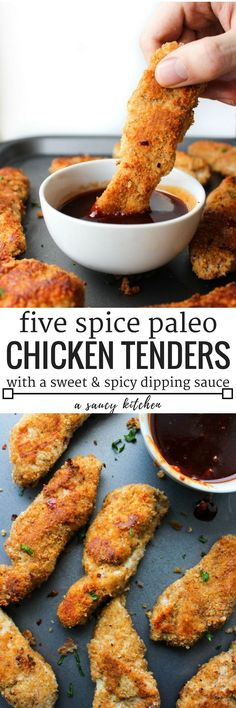 Paleo Chicken Tenders crusted in a almond flour blen with Chinese five spice & a sweet & spicy Asian sauce Gluten Free + Low FODMAP option Whole Food Recipes, Cooking Recipes, Healthy Recipes, Protein Recipes, Easy Recipes, Sauce Recipes, Five Spice Recipes, Air Fryer Recipes Paleo, Paleo Smoothie Recipes