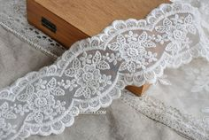 Off  White Lace Trim Rose Emboridered Lace Trim by Lacebeauty