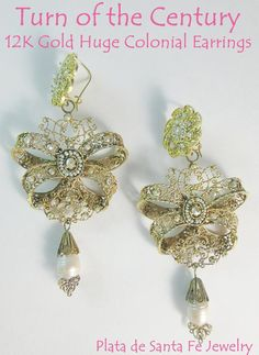 1900 s~20 s~From Federico s Personal Collection~HUGE~Breathtaking  Moorish~Spanish Colonial~Baroque 12K   14K Gold Filigree Pearl Earrings c91f02f8ee93