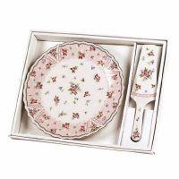 Cake Plate Set - Petit Rose Pattern - Porcelain, $15.00