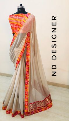 Indian Attire, Indian Wear, Indian Outfits, Saree Fashion, Indian Fashion, Fashion Dresses, Trendy Sarees, Georgette Sarees, Saree Styles