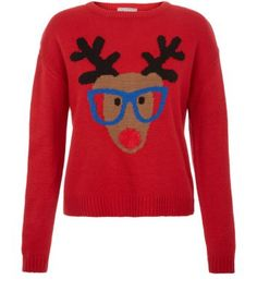 Teens Red Geek Reindeer Jumper