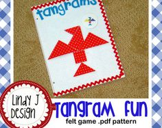 Felt Tangram Game .PDF Pattern with 2 color versions