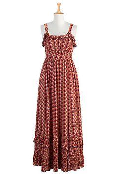 Ruffle neck maxi dress