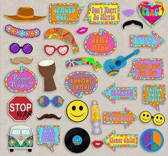 35 Hippie Themed Party Photo Booth Props por YouGrewPrintables