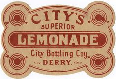 Vintage UK Lemonade Label
