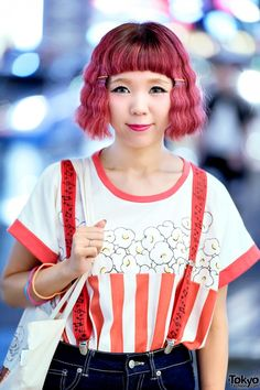 Pink Hair & Candy Stripper Harajuku Tee