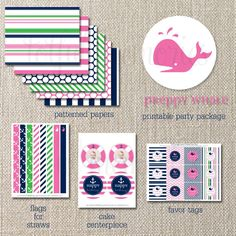 Preppy Whale printable party pack {much more than shown!}: navy, pink and kelly green