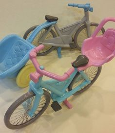 FISHER PRICE vintage TOY lot 2 bike 1 baby seat 1 cart pink blue bycicle EUC…