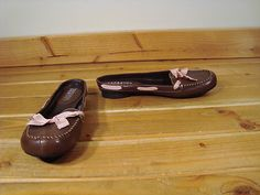 Women Personal Identity Brown Leather Pink Ribbon Mule Shoes Molly 7 M | eBay