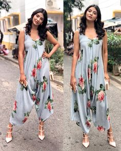 #pashaindia Striped Floral Palazzo Jumpsuit Western Dresses, Western Outfits, Dress Neck Designs, Blouse Designs, Boho Fashion, Fashion Dresses, Jumpsuit For Kids, Lehenga, Anarkali