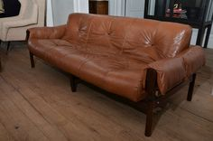 1960's Mid Century Brazilian Percival Lafer Leather Sofa With ...