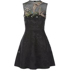 Valentino Bird Embroidered Dress (24.195 BRL) ❤ liked on Polyvore featuring dresses, embellished dress, party dresses, embellished party dresses, fit and flare dress and holiday party dresses