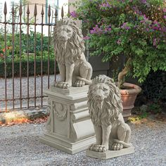 Design Toscano Mansfield Manor Lion Sentinel Animal Statue 21 Inch Set of Two Polyresin Antique Stone >>> You could locate more information by going to the image web link. (This is an affiliate link). Garden Statues, Garden Sculpture, Lion Sculpture, Animal Statues, Animal Sculptures, Stone Lion, Les Artisans, Outdoor Material, Majestic Animals