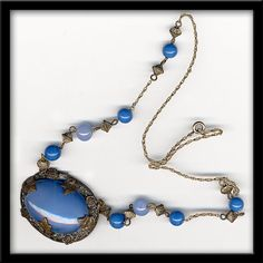 Edwardian era Bohemian glass and brass necklace