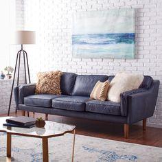 Carson Carrington Beatnik Oxford Leather Blue Sofa Navy Tufted