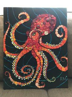 Octopus Drawing, Octopus Painting, Octopus Art, Octopus Crafts, Bottle Cap Art, Bottle Cap Crafts, Photo Canvas, Canvas Art, Button Art On Canvas