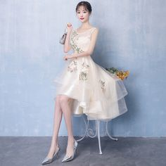 Fleepmart Robe de soiree Short Front Long Back Champagne Tulle with Appliques Evening Dress Charming Sleeveless O Neck Formal Party Dress