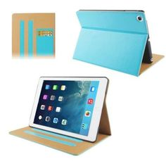For+iPad+Air+Blue+Horizontal+Flip+Leather+Case+with+Credit+Card+Slot+&+2+Gears+Holder