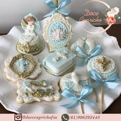 Joaziane e Wanessa ( Christening Cupcakes, Baptism Cookies, Baby Birthday Dress, Dad Birthday Cakes, Owl Sewing Patterns, Confirmation Cakes, Baptism Candle, Baby Baptism, First Holy Communion