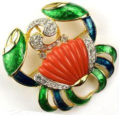 DeNICOLA De NICOLA Metallic Enamel Faux Coral Pave Rhinestones Cancer the Crab Pin