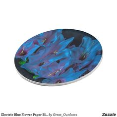 Electric Blue Flower Paper Blates Paper Plate