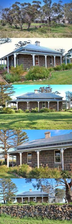 Different Roofing And Roof Maintenance Australian Country Houses, Fence Construction, Timber Posts, Double Hung Windows, Timber Door, Hip Roof, Rock Wall, Victoria, Country Estate