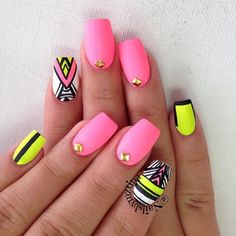 Image via Neon nails and black studs Image via Bright Neon Green Nails Image via Cute summer bright nail designs Image via bright nails Image via Bright summer man Nails Yellow, Pink Nail Art, Bright Nails, Neon Nails, Diy Nails, Cute Nails, Pretty Nails, Pink Yellow, Hot Pink