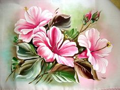 Pintura em Tecido Passo a Passo: PINTURA EM TECIDO - HIBISCOS Fruit Painting, Tole Painting, Fabric Painting, Flower Frame, Flower Art, Laura Rodrigues, Butterfly Flowers, Flower Patterns, Art Images