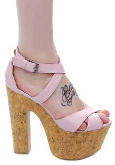 c label baby pink strappy open toe cork heel wedge shoe