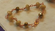 Copper Wire Wrapped Czech Glass Bracelet by GirlyPossessions on Etsy