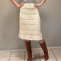 Vintage 70s Crocheted Sheath Skirt by SecondHandAddiction on Etsy