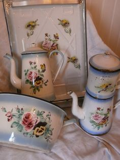 All reserved..Gorgeous pieces of enamelware,a very pretty coffee pot full of French Shabby charm.The condition is not perfect as is to be