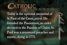 #SaintPauloftheCross #Passionists #prayforus